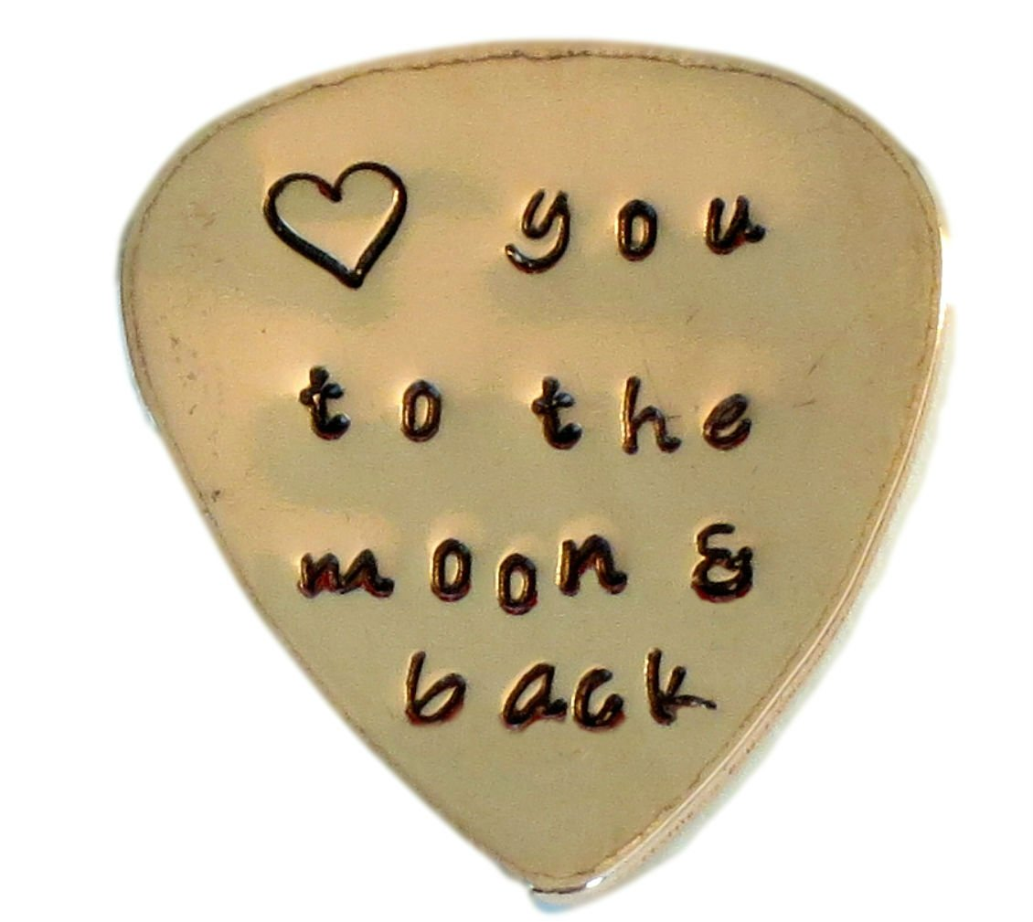 COPPER - Custom Guitar Pick Love you to the moon and back Hand Stamped Music Lovers Men Gift for Him Birthday