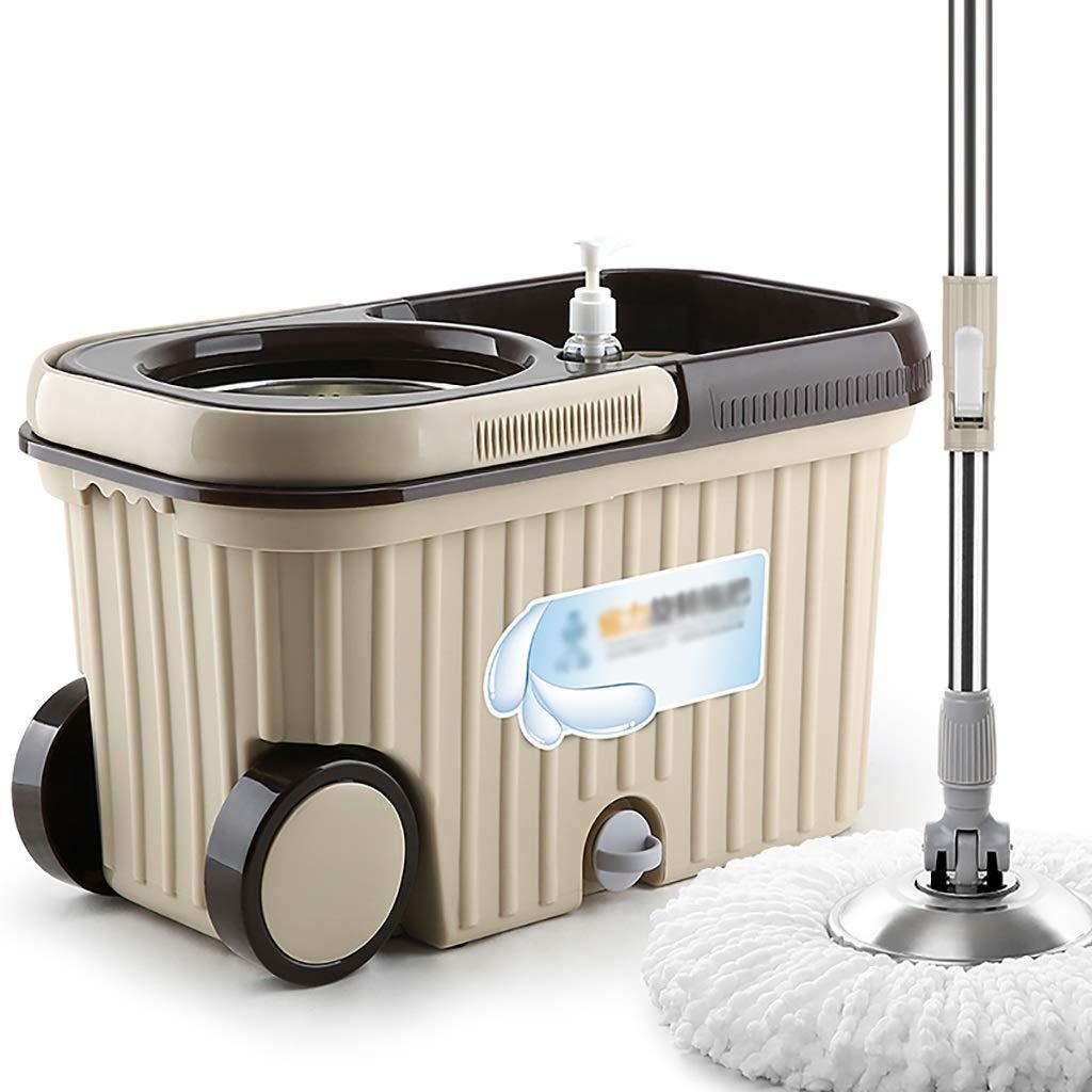 フロアモップワイパー 回転モップ、360°回転モップヘッド、ハンドフリー洗濯、洗濯と乾燥、(マイクロファイバー) B07L61H41R
