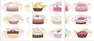 """Interestlee Wall Art Fashion, Modern Unframed Canvas Painting Wall Art - Cupcakes Bakery Pastry Design Confectioners Decorations Cake Retro Style Decor 16"""" x 32"""" x 3pcs Pastel Pink Cream"""
