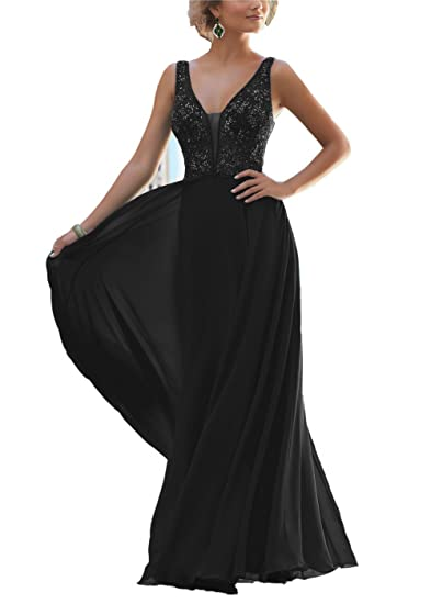 Promworld Womens Beaded V-Neck Bodice Chiffon Long Party Prom Dresses Black US2