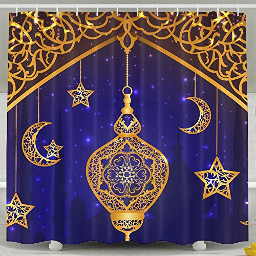 YETTA YANG Ramadan Islam Religion Muslim Holiday Lamp Home Decor Four Seasons Shower Curtain, Waterproof Mildew Resistant Non Toxic And Odorless, 100% Fabric Polyester Soft Material, Machine Washable by YETTA YANG