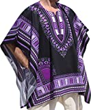 RaanPahMuang Brand Throw Over Poncho Top (Fully Open Sides) African Dashiki Art, Black Violet
