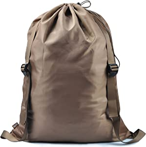 "iwill CREATE PRO 25""X31"" Laundry Backpack, 2 Strong Shoulder Straps, Wash Laundry Washing Bag for Dorm-Room, Laundry Bag, Brown"