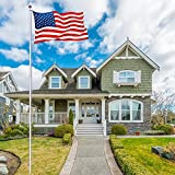 NsDirect 20 ft Aluminum Flagpole Flag Pole Kit 3'x5' US American Flag with Sectional Pole Set Half Staff Gold Ball Fly Top Finial In Ground Hardware for Outdoor Home Garden Festival Décor
