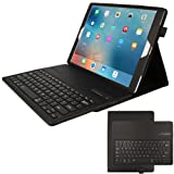 "TECHGEAR® Apple iPad Pro 12.9"" (2017 / 2015) PU Leather Case with Built in Detachable Bluetooth Wireless UK QWERTY Keyboard and Stand (BLACK)"