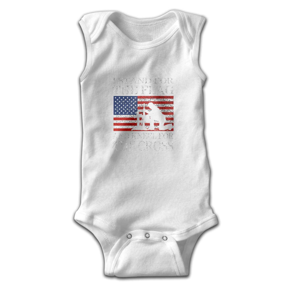 I Stand for The Flag and Kneel for The Cross Smalls Baby Onesie,Infant Bodysuit Black