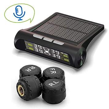 Solar Reifendruckkontrollsystem Sprachalarm TPMS Monitor mit 4 Externe Sensoren