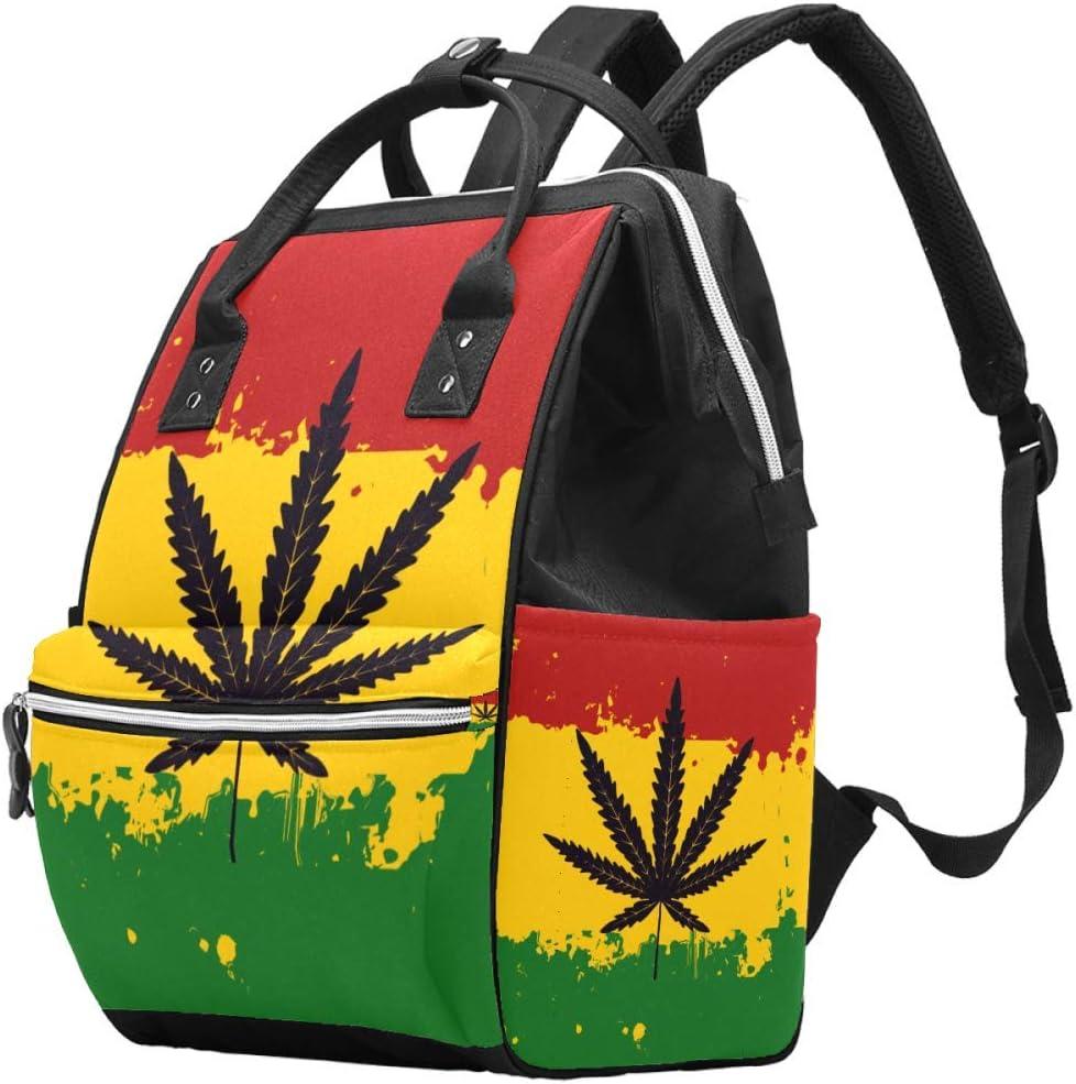 Bennigiry - Mochila para pañales, diseño de bandera rastafariana, marihuana, cannabis y hojas, de gran capacidad, para viaje, bolsa organizadora de pañales, multifunción, para mamá