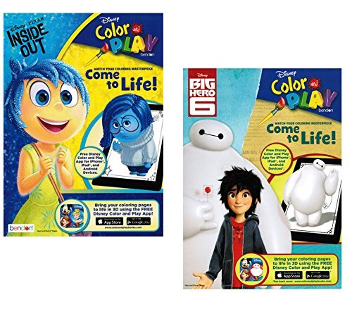 Disney Color And Play Big Hero 6 Inside Out Coloring Book Set