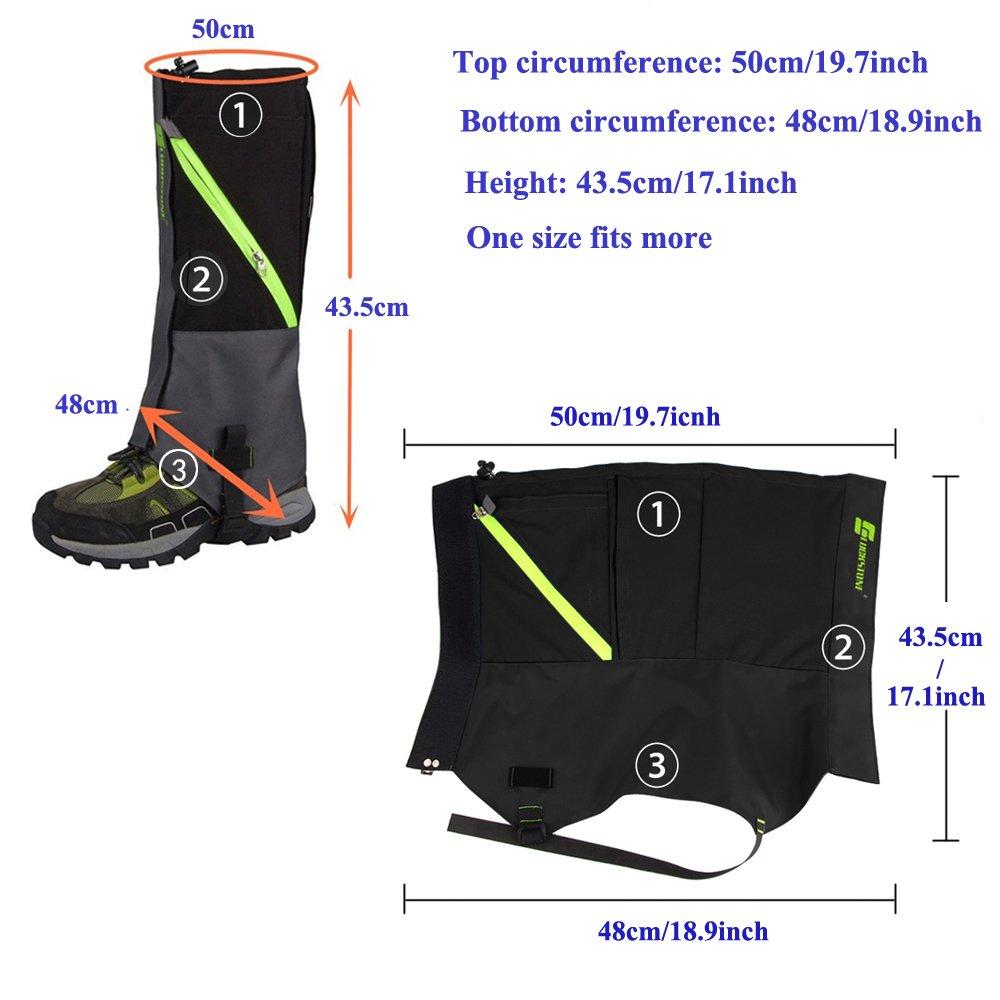 AYAMAYA Hiking Gaiters Waterproof Boot Snow Gaitors, Hiking Equipment Breathable High Boots Shoes Cover Leg Protection Guard, Anti Dust/Mud/Debris/Rock/Bush Snow Gaiters Hunting by AYAMAYA (Image #5)