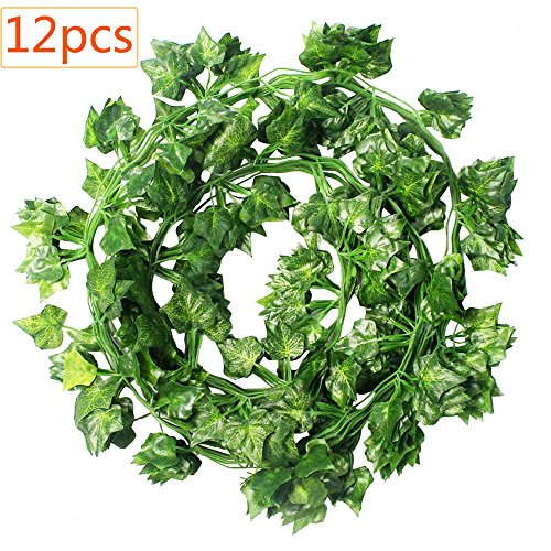 CEWOR 12pcs (78.7 Feet) Artificial Ivy Fake Greenery Garland Vine Leaves for Home Wedding Garden Swing Frame - Shopping Garden Mall State