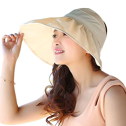 27194fa8236 Women Fashion Cotton Foldable Roll up Wide Brim Beach Sun Visor Hat ...