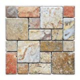 Scabos Travertine 3-Pieced Mini-Pattern Tumbled Mosaic Tile - 6 X 6 Sample