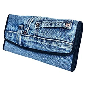 Bijoux De Ja Women Blue Denim Money Flap Roomy Wallet Wristlet Purse Clutch BMW014