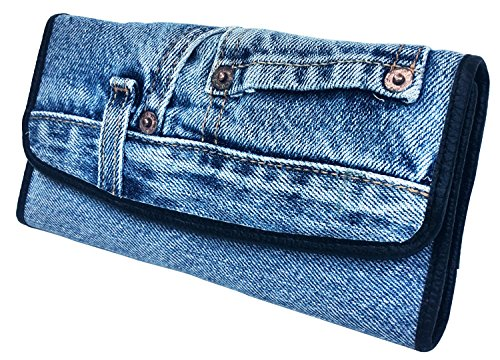 Bijoux De Ja Women Blue Denim Money Flap Roomy Wallet Wristlet Purse Clutch (Bijoux Clutch)