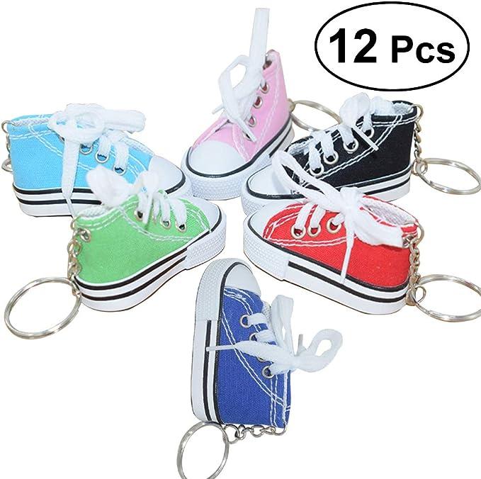 Toymytoy Mini Canvas Sneaker Schuh Keychain Schlüsselanhänger Für Frauen Girl Souvenir Geschenk Pack Von 12 Zufällige Farbe Spielzeug