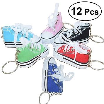 Yeahibaby Mini Canvas Sneaker Shoe Keychain - Llavero para Mujer Girl Souvenir Gift - Paquete de 12 (Color Aleatorio)