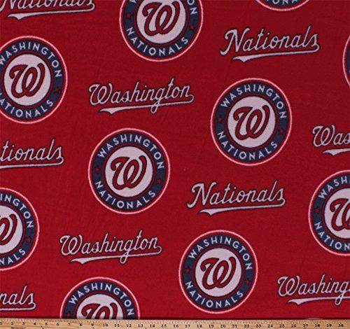 Fleece Washington Nationals Red MLB Baseball Sports Fleece Fabric Print By the (Washington Fleece Throw)