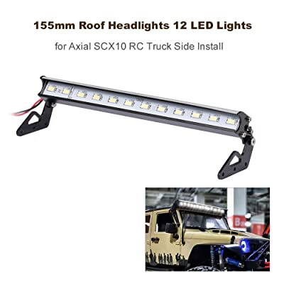Lechnical 155mm Roof Headlights RC Off-Road Dome 12 LED Lights for Axial SCX10 RC Truck Side Install: Electronics