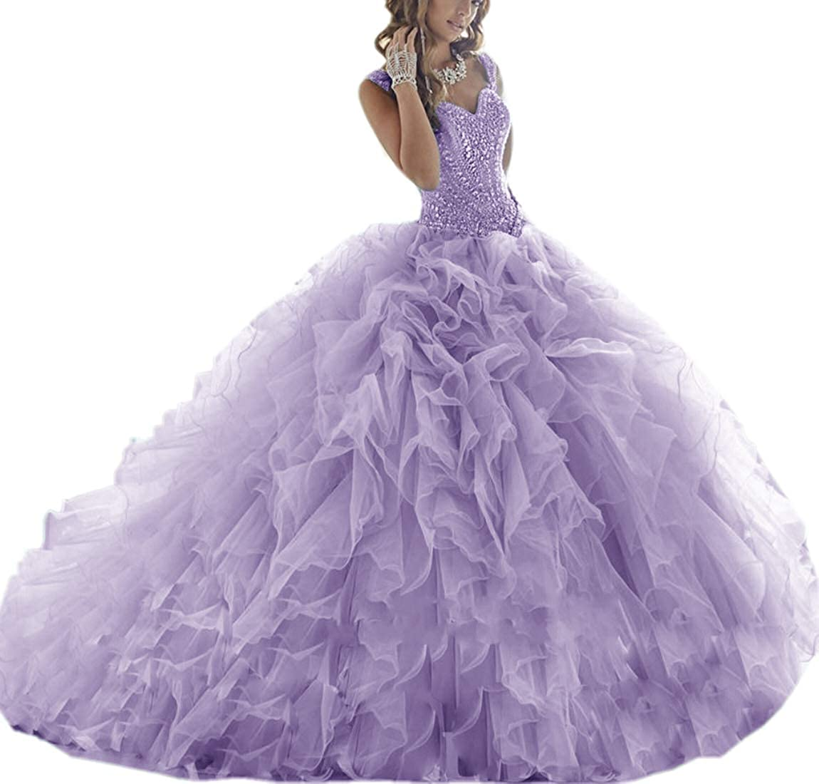 Lavender APXPF Women's Crystals Beaded Organza Ruffle Quinceanera Dress Sweet 16 Ball Gown Prom Dress
