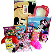 Minnie Mouse Daisy Duck Travel Fun Pack Beach Towel & toys Coloring Pencil Case notepad Puzzle Cup Book Flower Barrettes & a tote to carry ity all in plus more