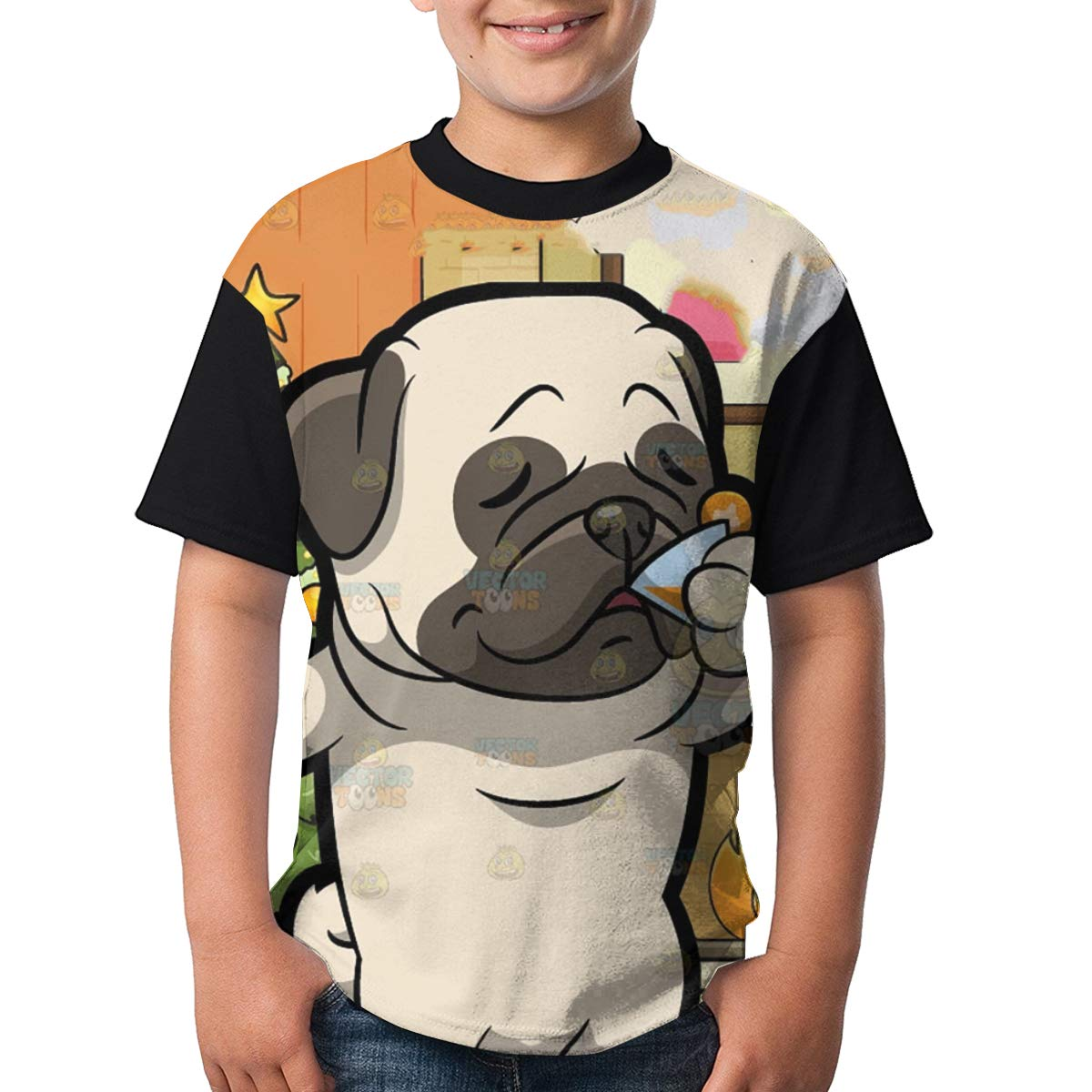 BIAN-64 Youth Pug Savoring A Cocktail Drink Casual 3D Pattern Printed Short Sleeve T-Shirts Top Tees