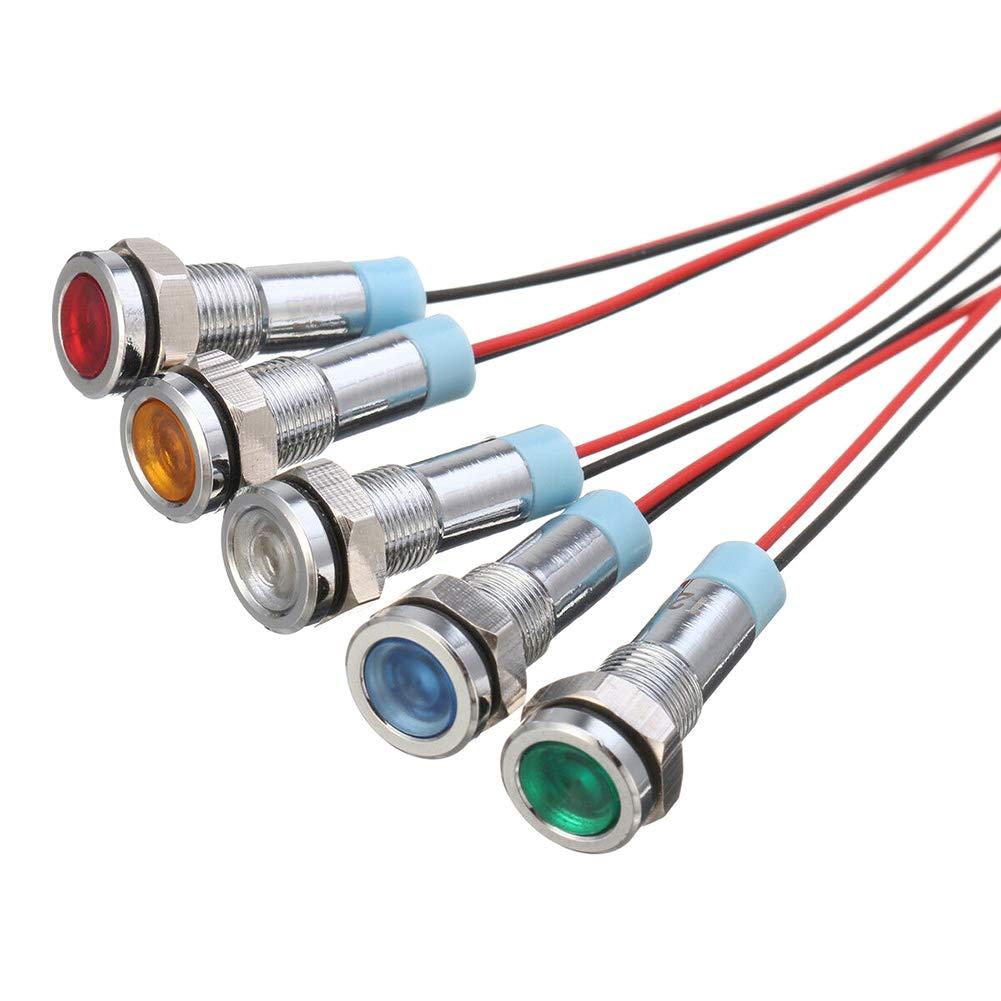 Delleu 5pcs 6mm 1//4 LED indicador luminoso de metal 12V l/ámpara de se/ñal a prueba de agua piloto Dash direccional coche cami/ón barco con cable