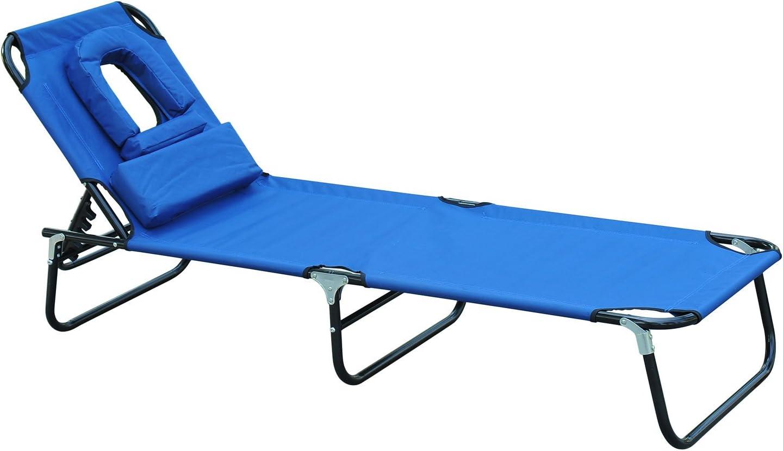 Outsunny Tumbona Reclinable y Plegable Hamaca Masaje con Almohada para Camping Leer Playa Jardín Terraza Carga 120kg 190x56x28cm Tela Oxford Azul