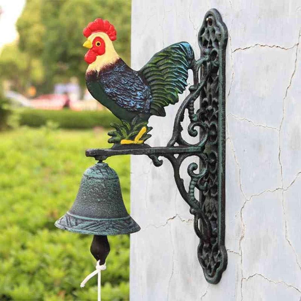 Hmy LRWstatues Iron Cock Art Timbre de la Puerta Campanas de Hierro Fundido Adornos Colgantes Colgante de Pared Patio Cortijo Decoración de Pared