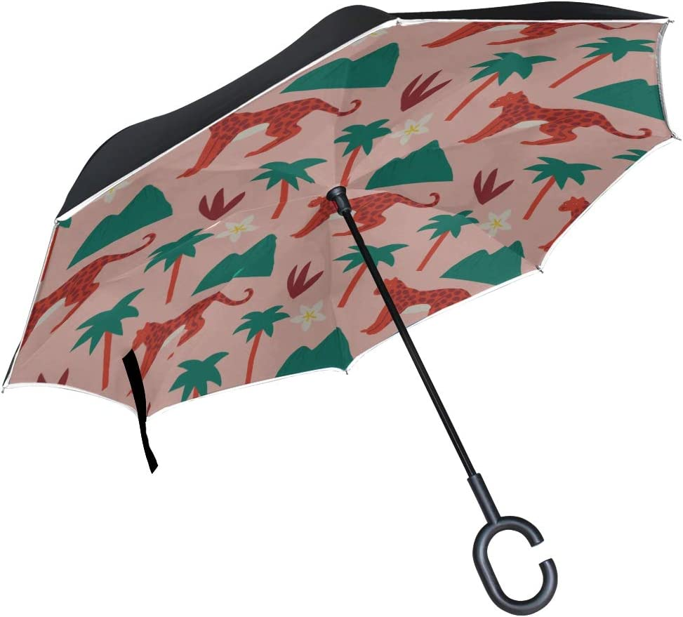 Double Layer Inverted Inverted Umbrella Is Light And Sturdy Lion Tiger Pattern Decorative Reverse Umbrella And Windproof Umbrella Edge Night Reflecti