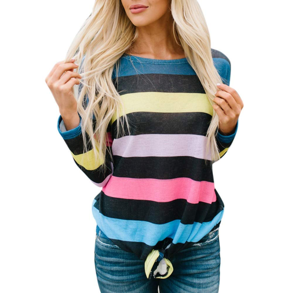St.Dona Plus Size Women Long Sleeve Stripe Print Pullover Tie Blouse Sweatshirt Tops