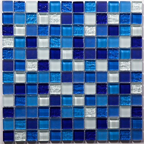 Blue Mixed Glass Mosaic Tile / Sample (Tile Pool)