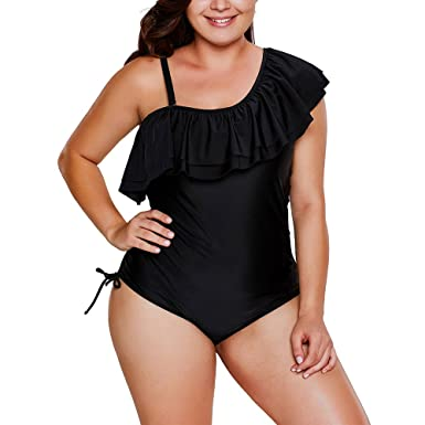 7992628bd MuCoo Women s One Shoulder Ruffles One Piece Bathing Suit Swimsuit ...