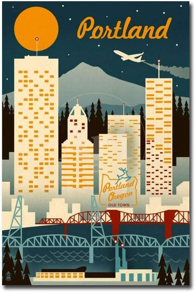 "Portland, Oregon Retro Skyline Travel Refrigerator Magnet Size 2.5"" x 3.7"""