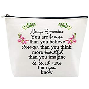 Inspirational Gifts for Women Birthday Friendship Gifts You are Braver Stronger Beautiful Loved Makeup Bag Personalized Gifts Thank You Gifts for Teacher Nurse Coworker Going Away Gifts for Christmas