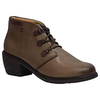 Women's Sirkka Taupe Grey Leather Lace Up Ankle Boots
