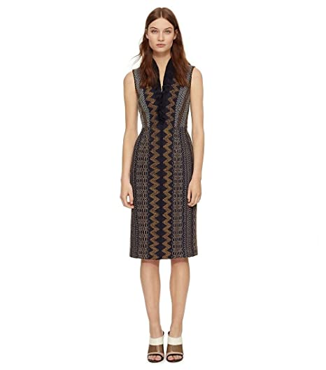 759668382 Tory Burch SMOCKED SILK V-NECK DRESS (4) at Amazon Women s Clothing ...