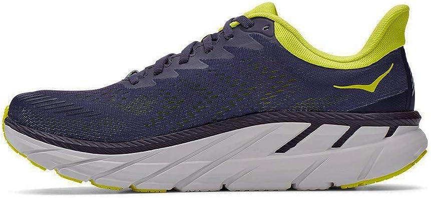 HOKA Clifton 7 - Zapatillas de running para hombre, Hombre, azul oscuro - amarillo - blanco, 44 2/3: Amazon.es: Zapatos y complementos