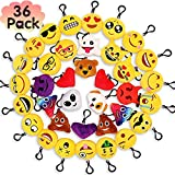 Best Emoji Backpacks For Kids - MelonBoat 36 Pack Emoji Mini Plush Pillows, Keychain Review