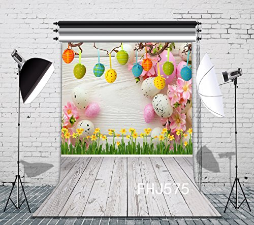 LB 5x7ft Vinyl Easter Photography Backdrop for Children and Kids Customized Yellow Flowers Colorful Eggs Wood Floor Photo Background Studio Props FHJ575 for $<!--$19.99-->