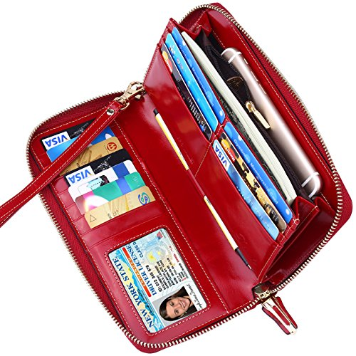 Dante RFID Blocking Wax Real Leather Zip Around Wallet Clutch Large Travel Purse for Women(Red)