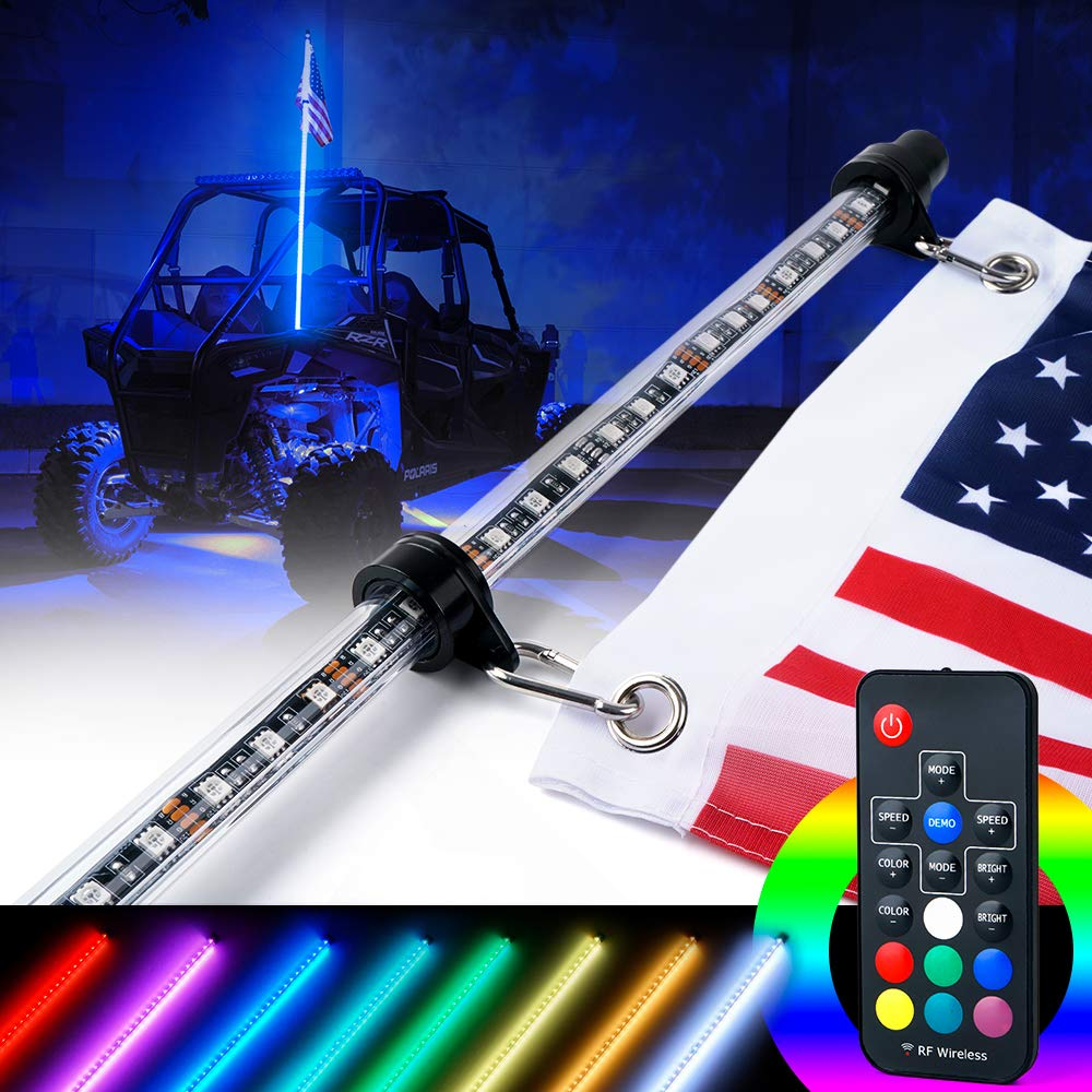 Xprite 4ft (1.2M) RF Remote Controlled LED RGB Whip Lights w/Flag for Offroad Jeep Can-am Maverick X3 Yamaha Sand Dune Buggy UTV ATV 4X4 Trophy Truck