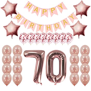 Rose Gold 70th Birthday Decorations Party Supplies Gifts For Women