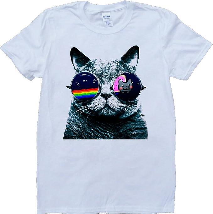 Gato con Gafas De Sol Blanco por Encargo T-Shirt: Amazon.es ...
