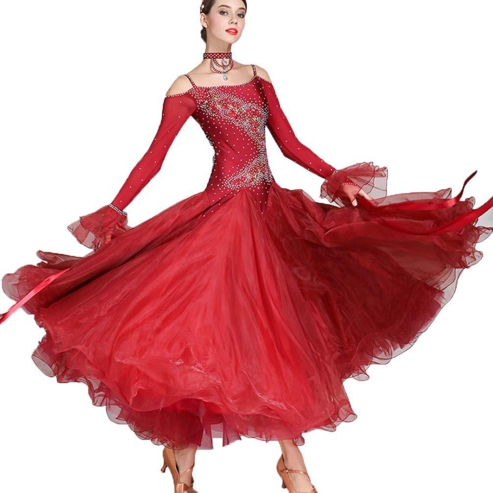 大人の女の子Waltzモダンダンスコンペティションドレス国家標準社交公演長袖ドレスタンゴラインストーンコスチューム、もっと色 ワインレッド B07Q3DRDH3 M|ワインレッド ワインレッド M, 弓戸人形:8304453c --- ijpba.info