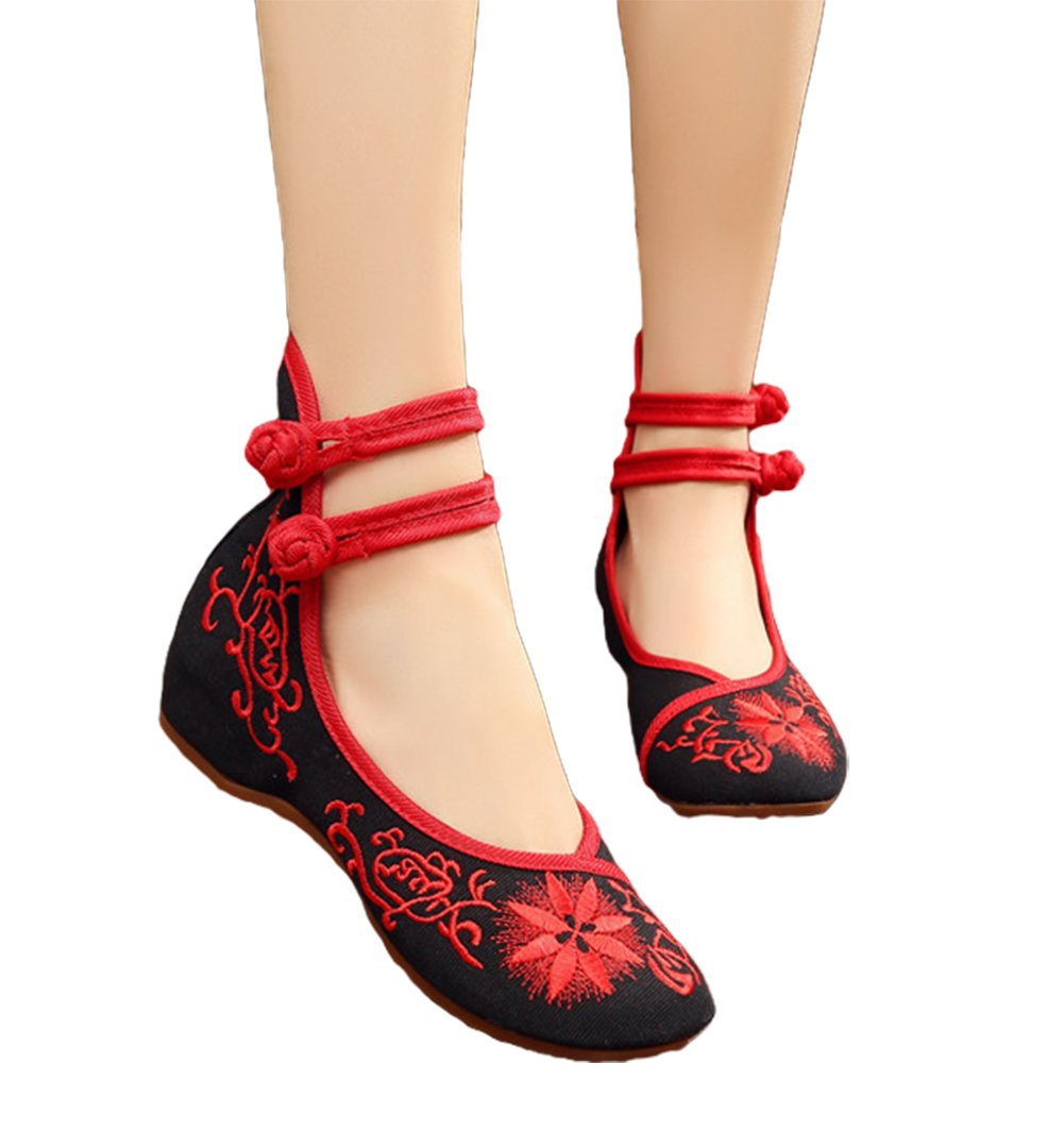 AvaCostume Womens Chinese Cheongsam Matched Shoes Casual Dance Shoes, Black, 40