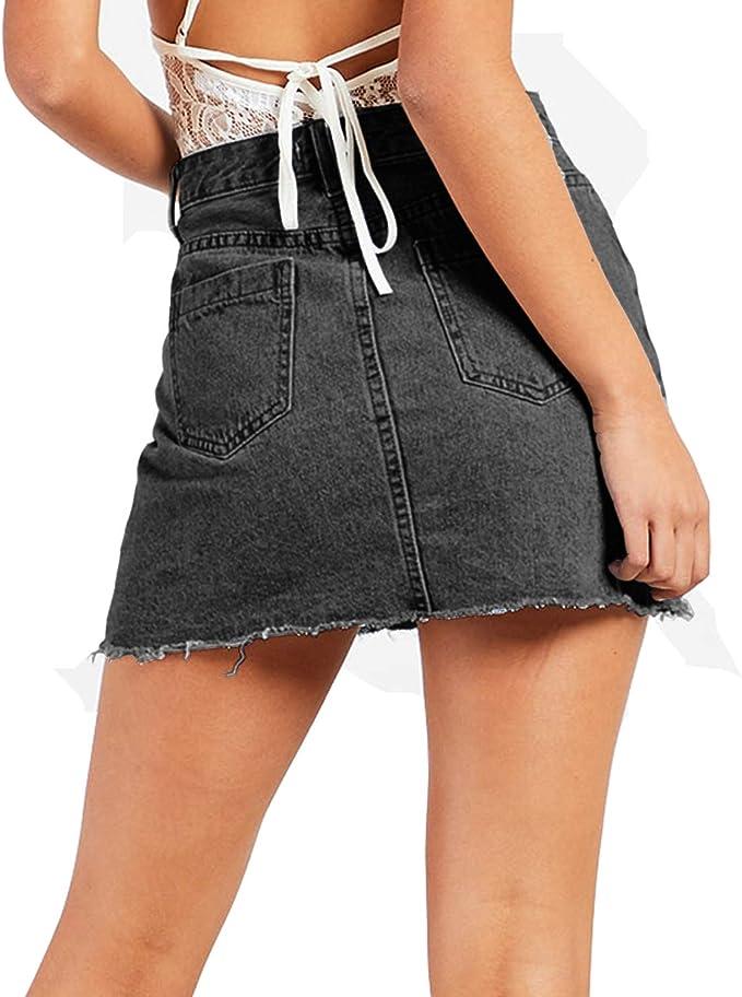 New Womens Freyed Hem Buckle Back Zip Up Stretch Bodycon Short Denim Mini Skirt