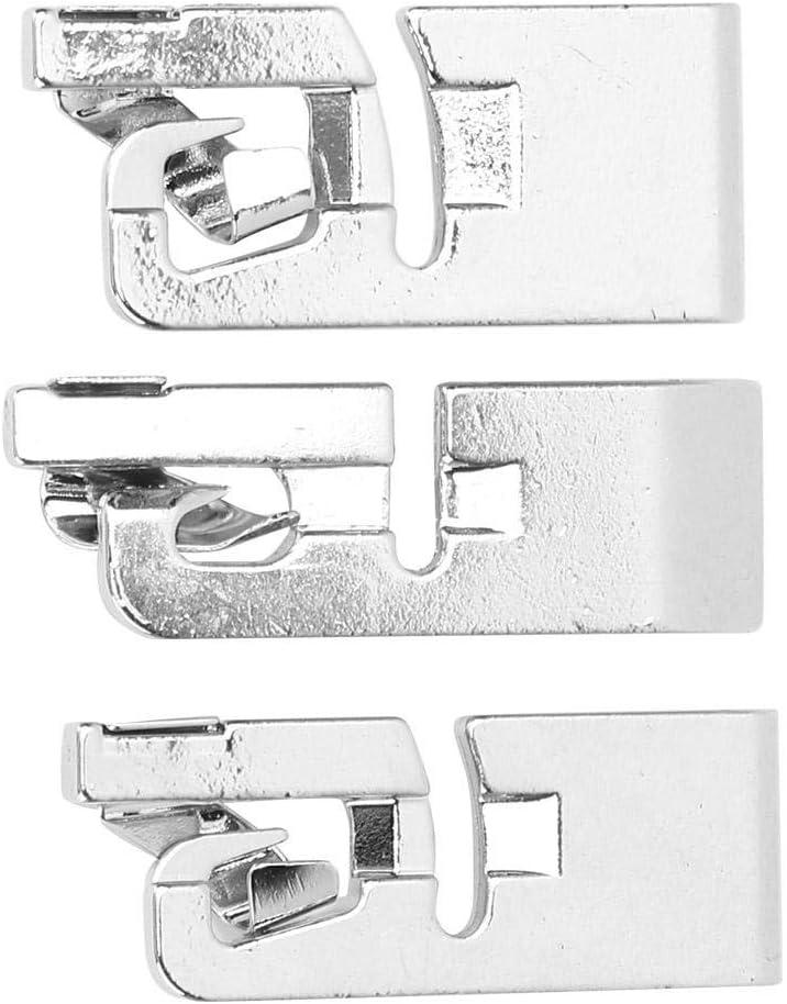 Máquina de coser multifuncional para prensatelas 3pcs Estribo de dobladillo enrollado Prensatelas para doblar piezos para Singer Leap Butterfly y otros adaptadores de vástago bajo (3 mm 4 mm 6 mm)
