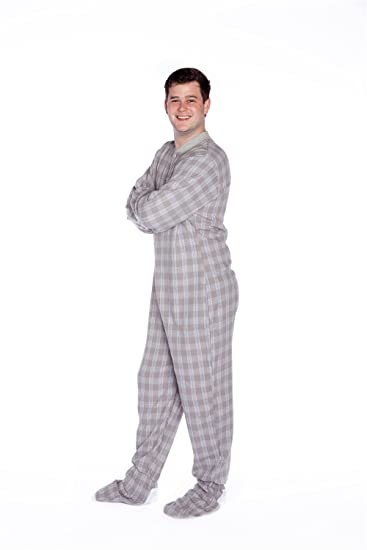 d411dd4e1d36 Big Feet PJs Gray   White Plaid Cotton Flannel Adult Footed Pajamas Onesie