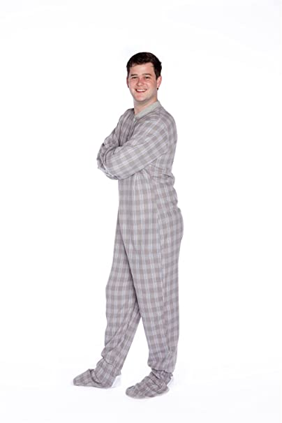 Big Feet Pajama Co. Cuadros Franela Unisex Adulto Patas Pijamas con el Asiento de la